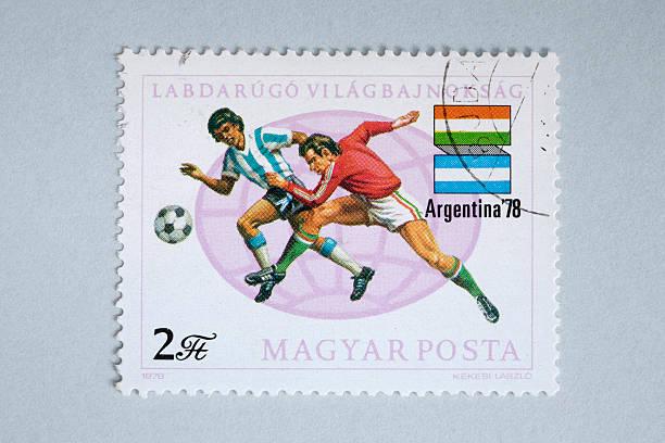 Primer plano de húngaro post sello mostrando de jugadores de fútbol - ilustración de arte vectorial