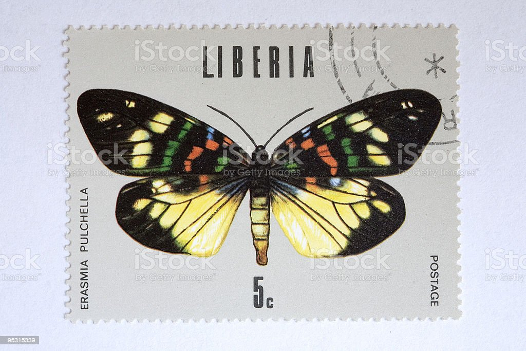 Close up of liberian post stamp showing a butterfly royalty-free close up of liberian post stamp showing a butterfly stock vector art & more images of animal wing