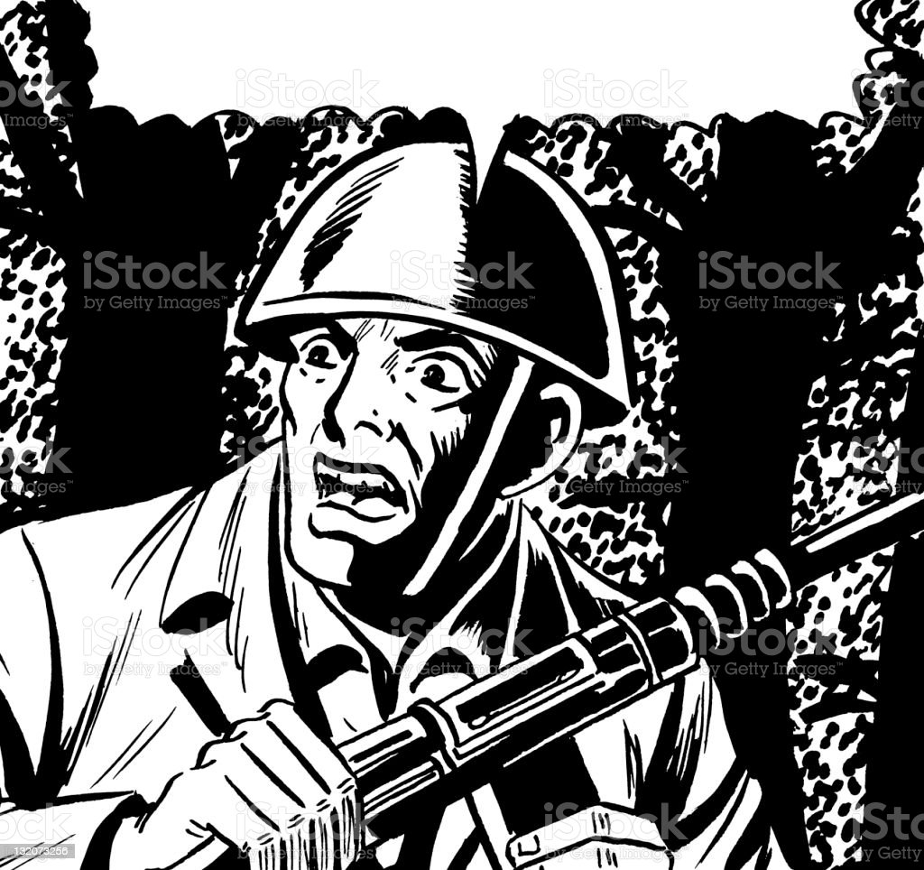 Close up of Soldier With Speech Balloon royalty-free close up of soldier with speech balloon stock vector art & more images of adult