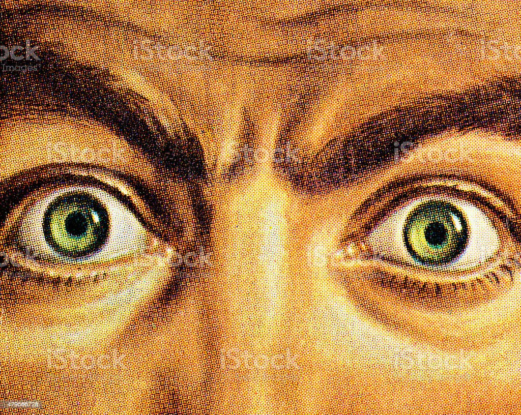 Close Up of Wide Eyed Man vector art illustration