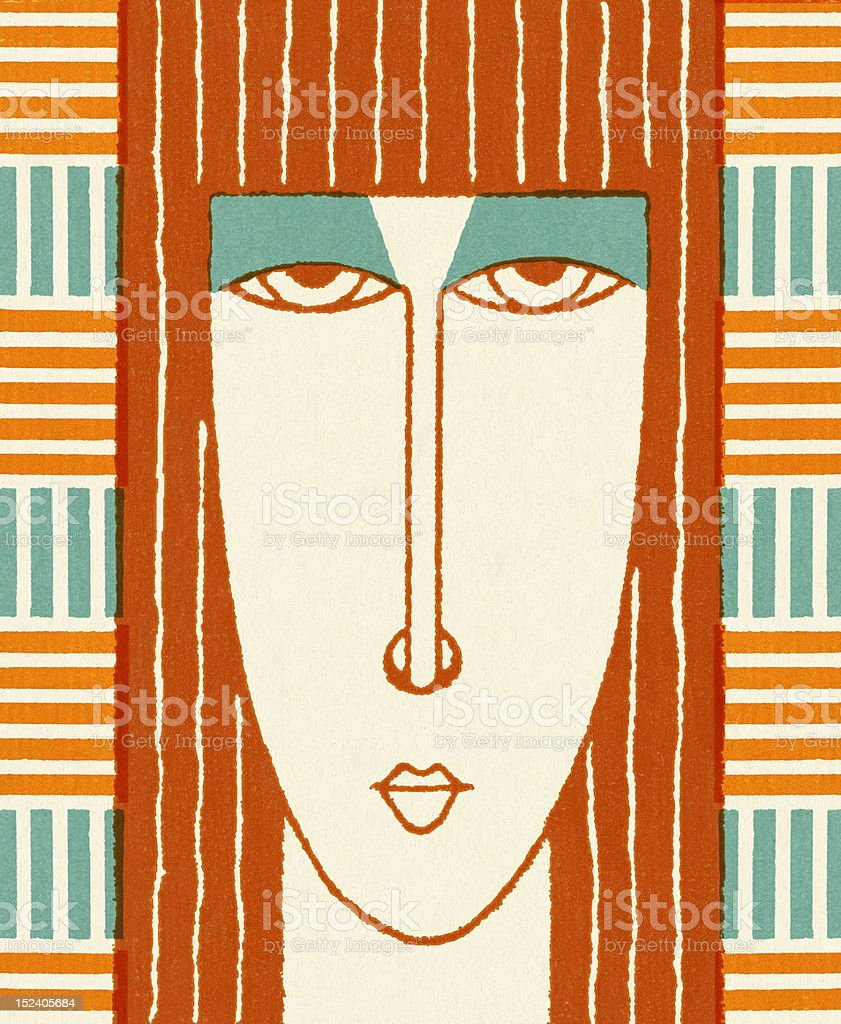 Close Up of Woman With Long Hair royalty-free stock vector art