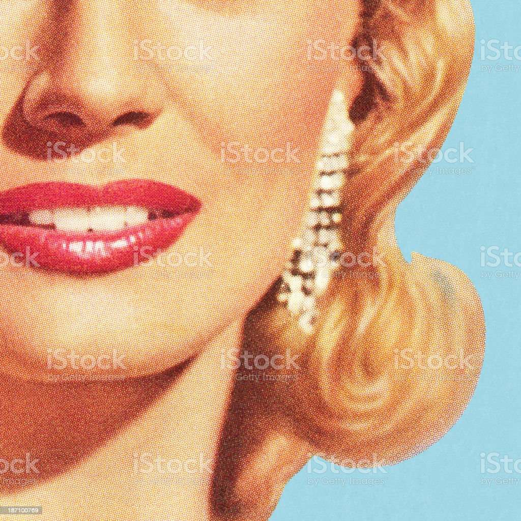 Close up of Woman's Face vector art illustration