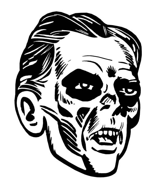 Royalty Free Black And White Zombie Face Clip Art, Vector ...