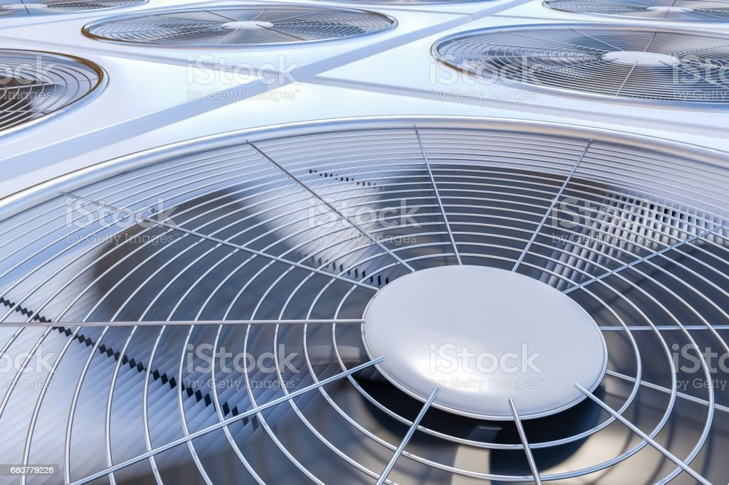 Close up view on HVAC units (heating, ventilation and air conditioning). 3D rendered illustration. vector art illustration