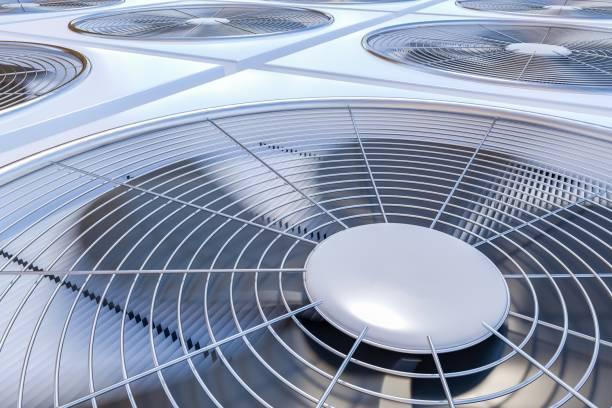 ilustrações, clipart, desenhos animados e ícones de close-up vista sobre unidades de avac (aquecimento, ventilação e ar condicionado). 3d renderizados ilustração. - ar condicionado