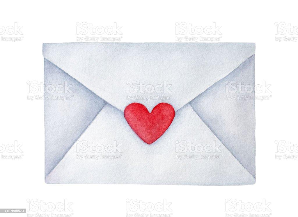 Kucuk Kalp Seklinde Etiketi Ile Posta Zarf Kapali Romantizm