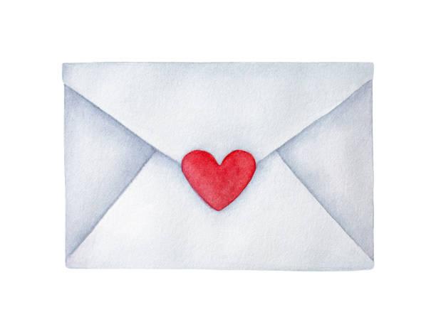 Fermeture enveloppe postale avec l'autocollant en forme de petit coeur; symbole de la romance. Dessinée à la main l'eau couleur peinture sur fond blanc, élégant, élément de conception, fête, cartes de voeux, invitations de mariage. - Illustration vectorielle