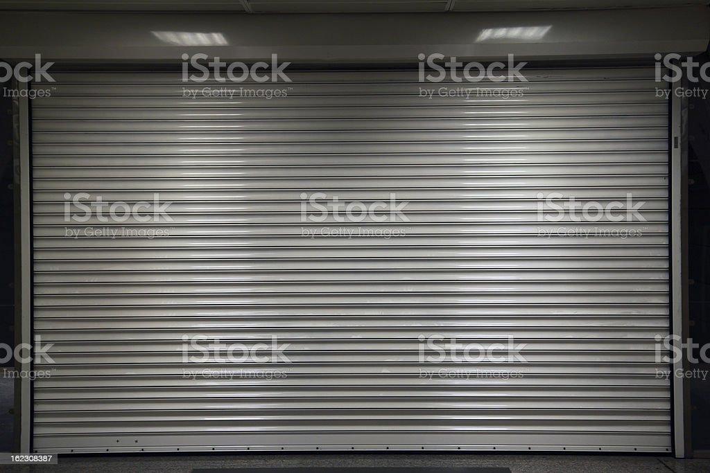 closed steel door vector art illustration
