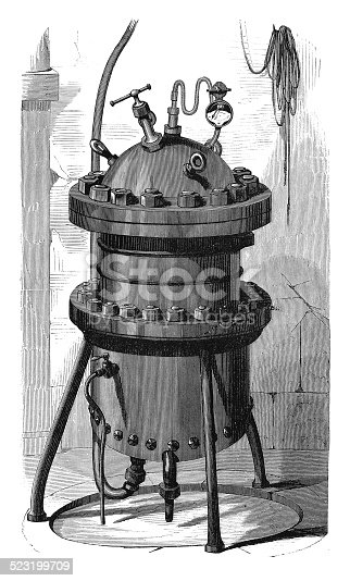 19th century illustration of a closed vessel for heating under pressure. Published in 'The Practical Magazine, an Illustrated Cyclopedia of Industrial News, Inventions and Improvements, collected from foreign and British sources for the use of those concerned in raw materials, machinery, manufactures, building, and decoration.' (Wedwood, Watt & Co./ W.P. Bennett & Co., London/Birmingham, 1873).