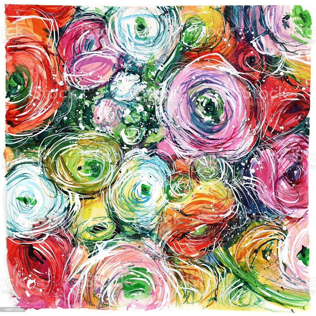 Gros plan coloré bouquet de roses buttercups, - Illustration vectorielle