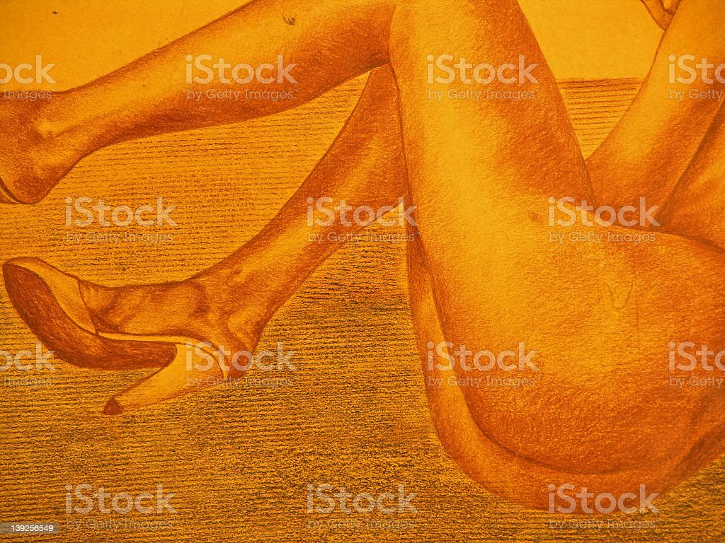 Close-up drawing of nude lady royalty-free stock vector art