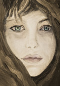Closeup girl portrait in full face in a color shawl in impressionism style, oil on canvas
