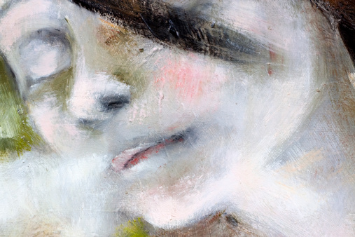 Closeup modern portrait of young girl, oil painting