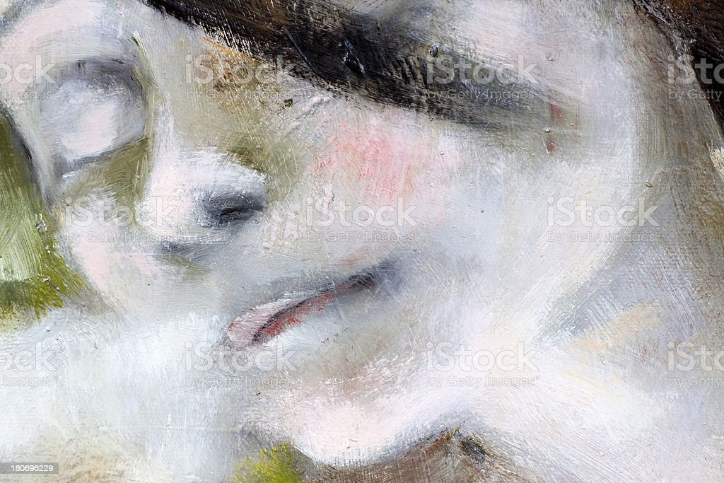 Closeup modern portrait of young girl, oil painting vector art illustration
