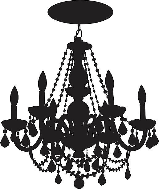 Close Up Of A Chandelier Vector Art Illustration