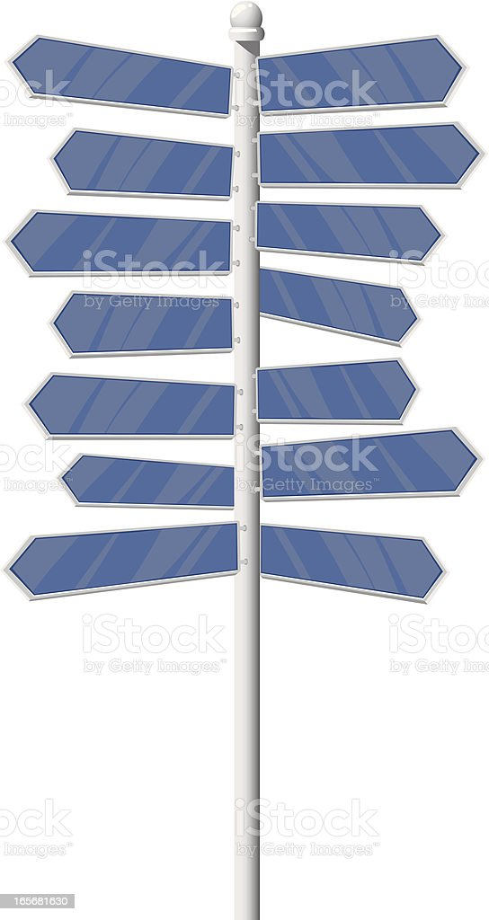 Close-up of a directional sign vector art illustration
