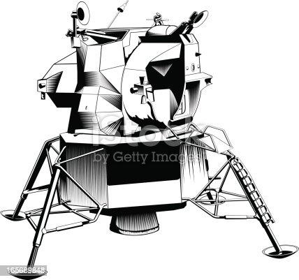 Close-up of a lunar module