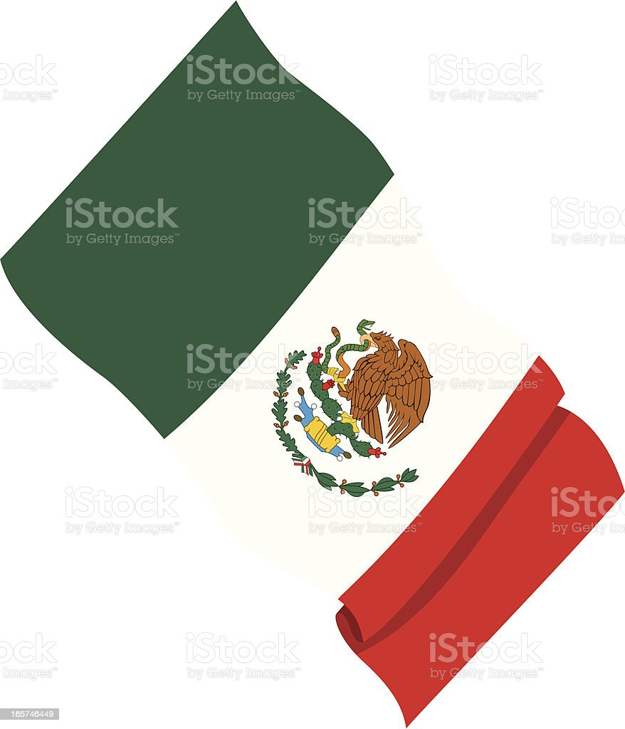 Close-up of a Mexican flag vector art illustration