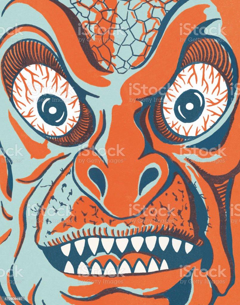 Closeup of a Monster Face vector art illustration