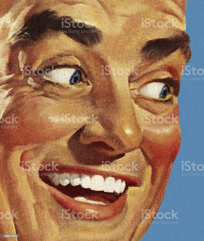Closeup of a Smiling Man royalty-free closeup of a smiling man stock vector art & more images of adult