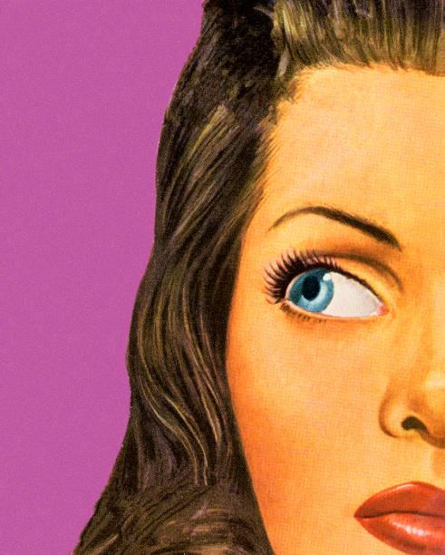 stockillustraties, clipart, cartoons en iconen met closeup of a woman - wegkijken