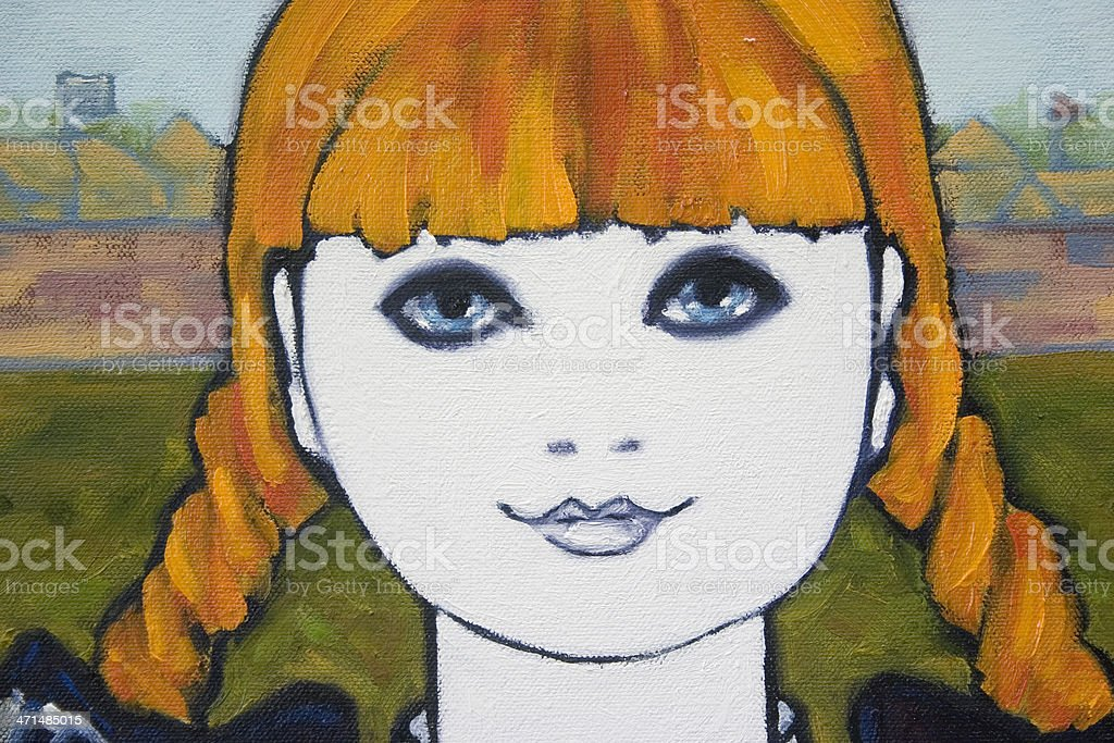 Close-up of a Young Girl Portrait Oil Painting vector art illustration
