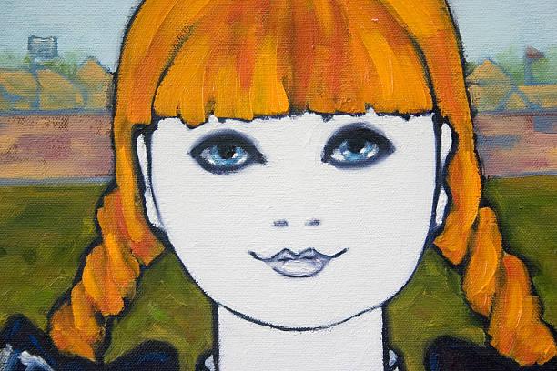ilustraciones, imágenes clip art, dibujos animados e iconos de stock de close-up of a young girl retrato cuadro al óleo - ojos azules