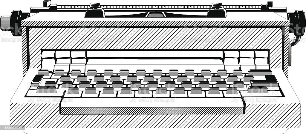 Close-up of an old typewriter royalty-free stock vector art