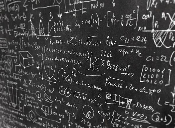 Close-up of elaborated math formulas and equations on blackboard vector art illustration