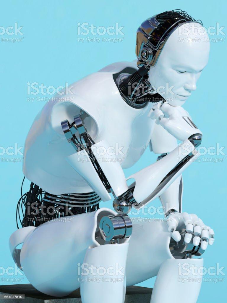 Nahaufnahme des Roboter Menschen im Denken darstellen. - Lizenzfrei Achtsamkeit - Persönlichkeitseigenschaft Stock-Illustration