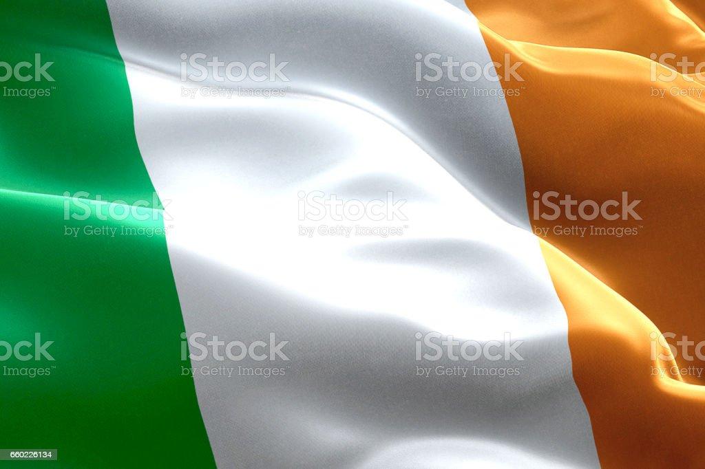 Gros Plan Dagitant Le Drapeau Celtique Dirlande Symbole