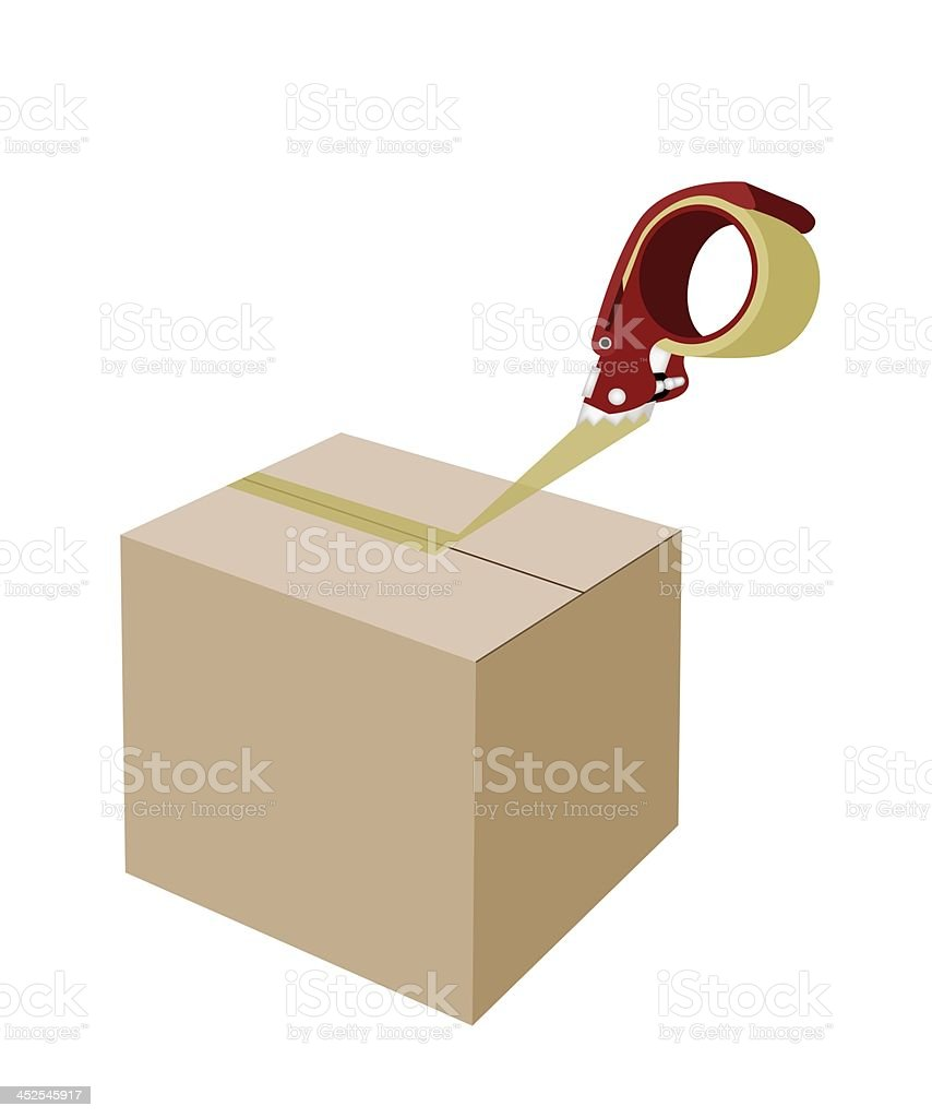 Closing A Cardboard Box with Adhesive Tape Dispenser vector art illustration