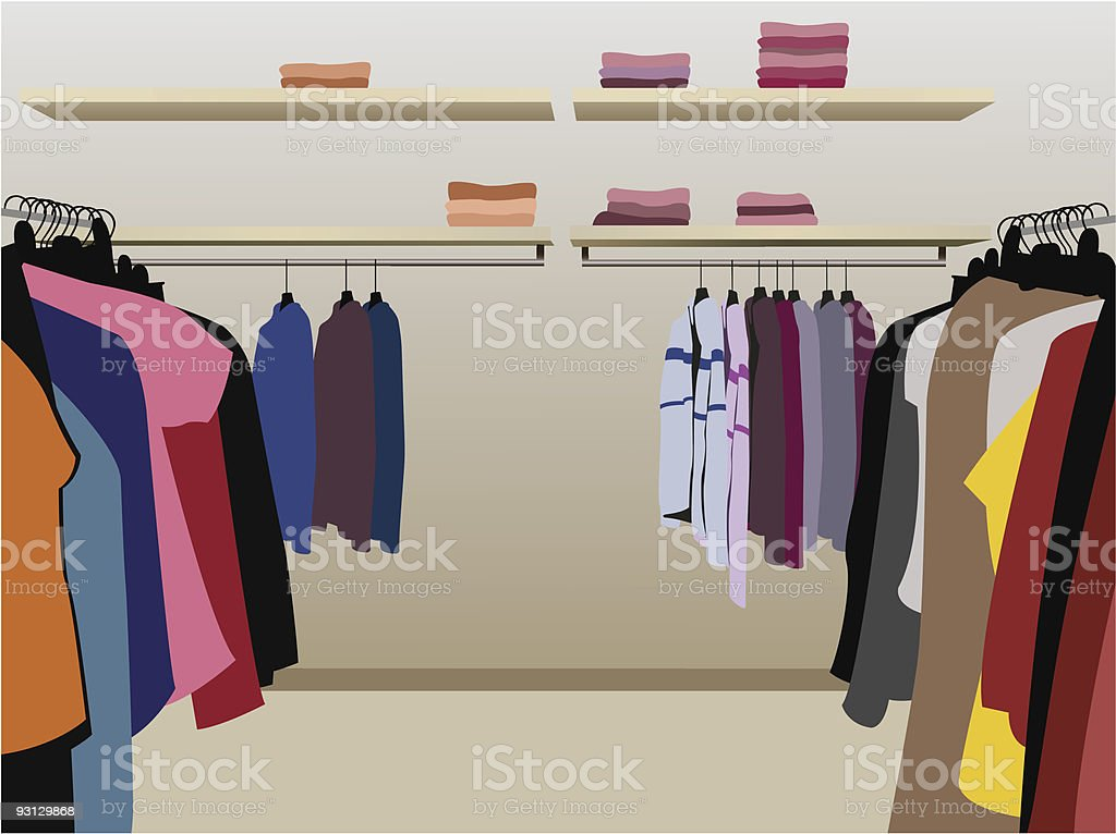 clothes in shop vector vector art illustration