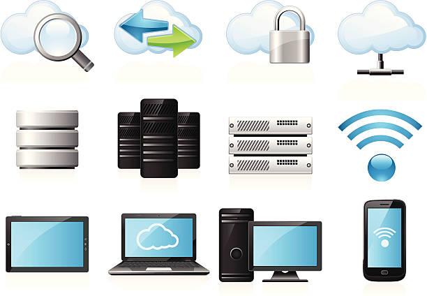 stockillustraties, clipart, cartoons en iconen met cloud computing icons - netwerkserver
