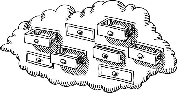 bildbanksillustrationer, clip art samt tecknat material och ikoner med cloud drawer storage drawing - byrålåda