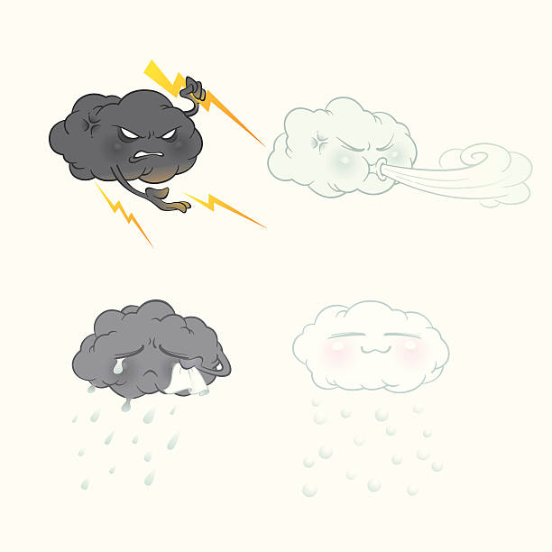 """Cloud expressions """"Four different clouds with emotional facial expressions: Lightning, Windy, Raining, Snowing.  (exclusively on istockphoto only)"""" forked lightning stock illustrations"""