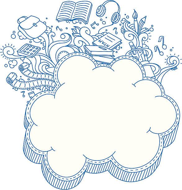 Cloud Frame Doodle vektorkonstillustration
