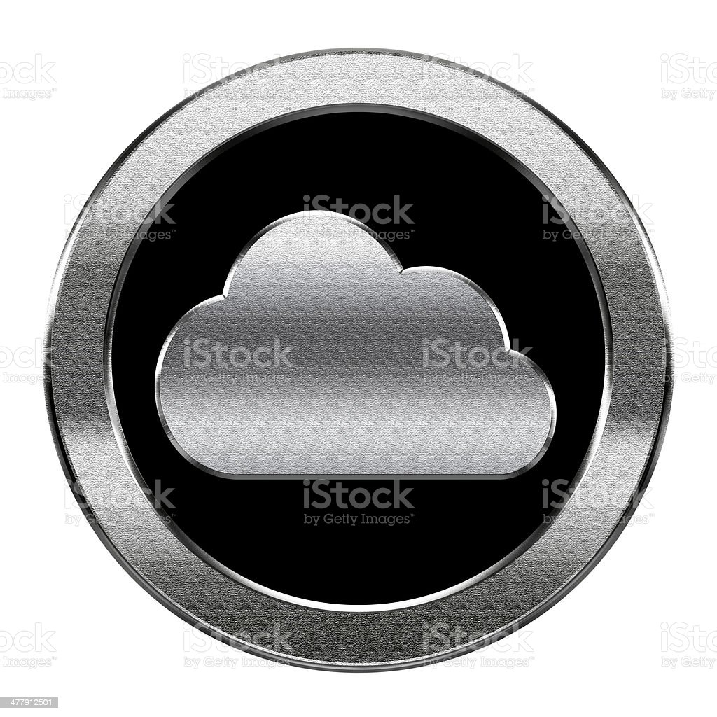 Cloud icon silver, isolated on white background. royalty-free stock vector art