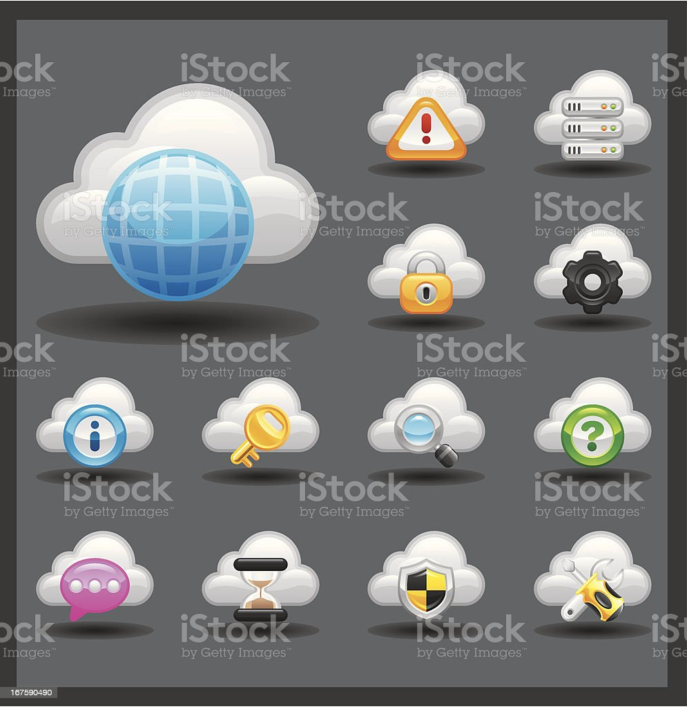 Cloud Network Icon Set | Shiny Series / Dark royalty-free cloud network icon set shiny series dark stock vector art & more images of black background