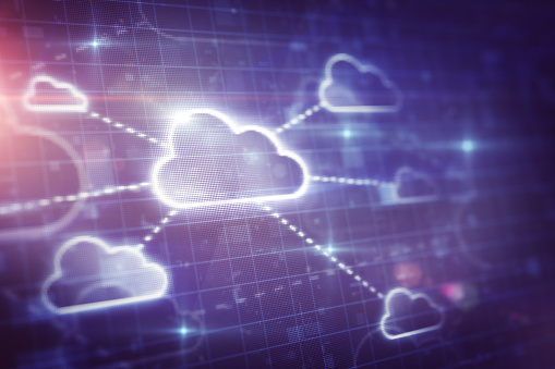Cloud network on digital screen