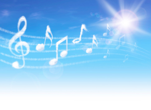 Clouds music notes on blue sky.