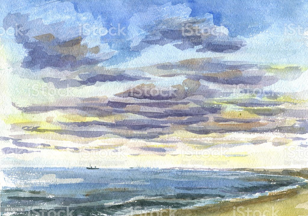 Clouds over the sea watercolor painting vector art illustration