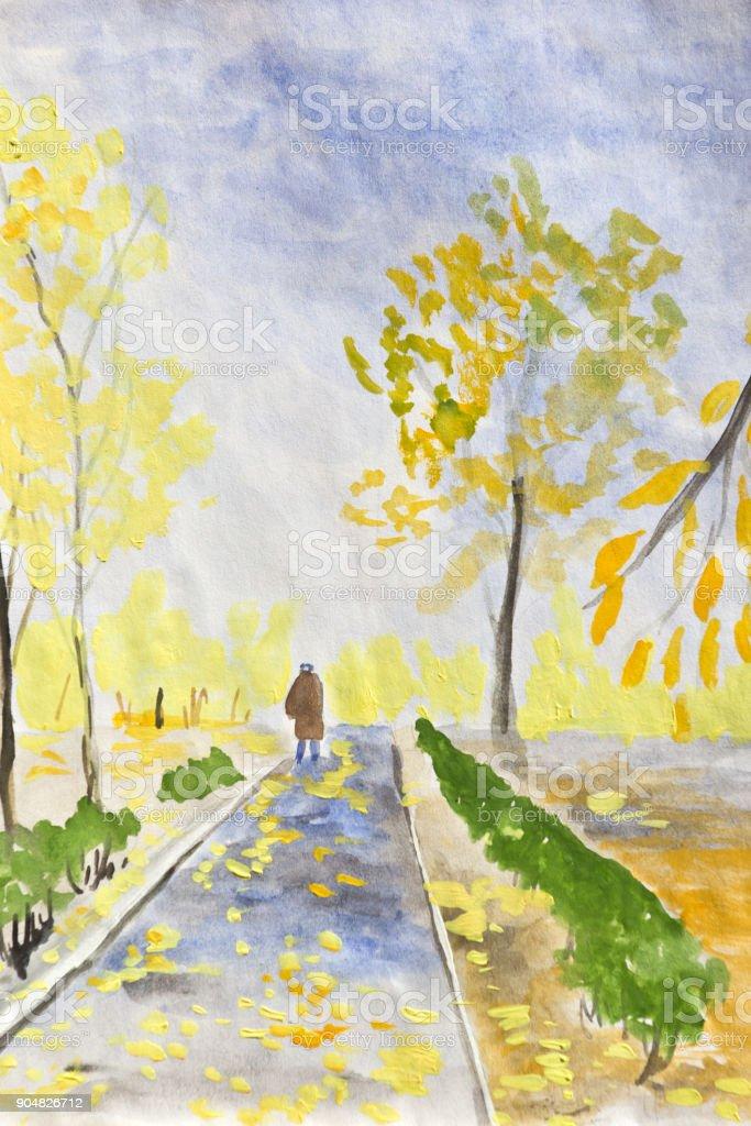 Cloudy day in autumn Park. vector art illustration