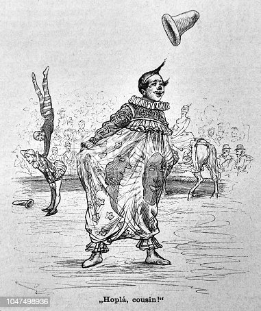 Clown entertains the visitors during a circus performance - 1888