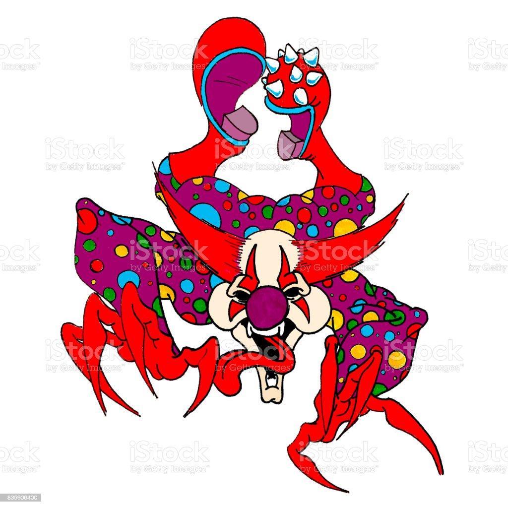 Clown Evil vector art illustration