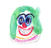 istock Clown face watercolour painting 1182905180