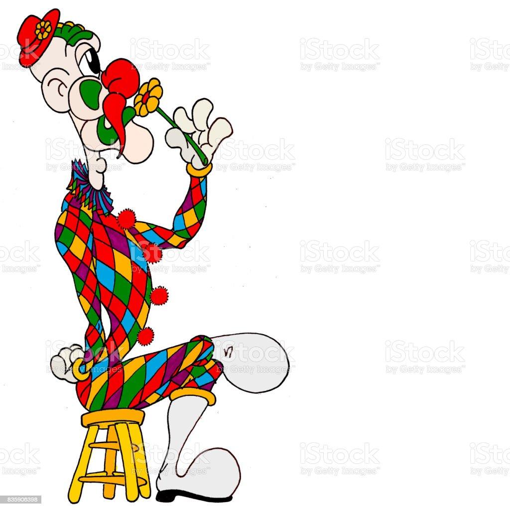 Clown Flower vector art illustration