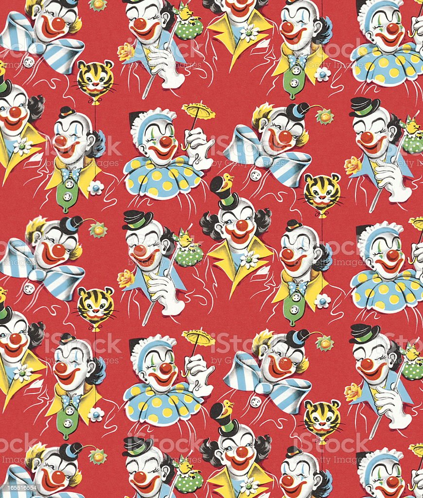 Clown Pattern vector art illustration