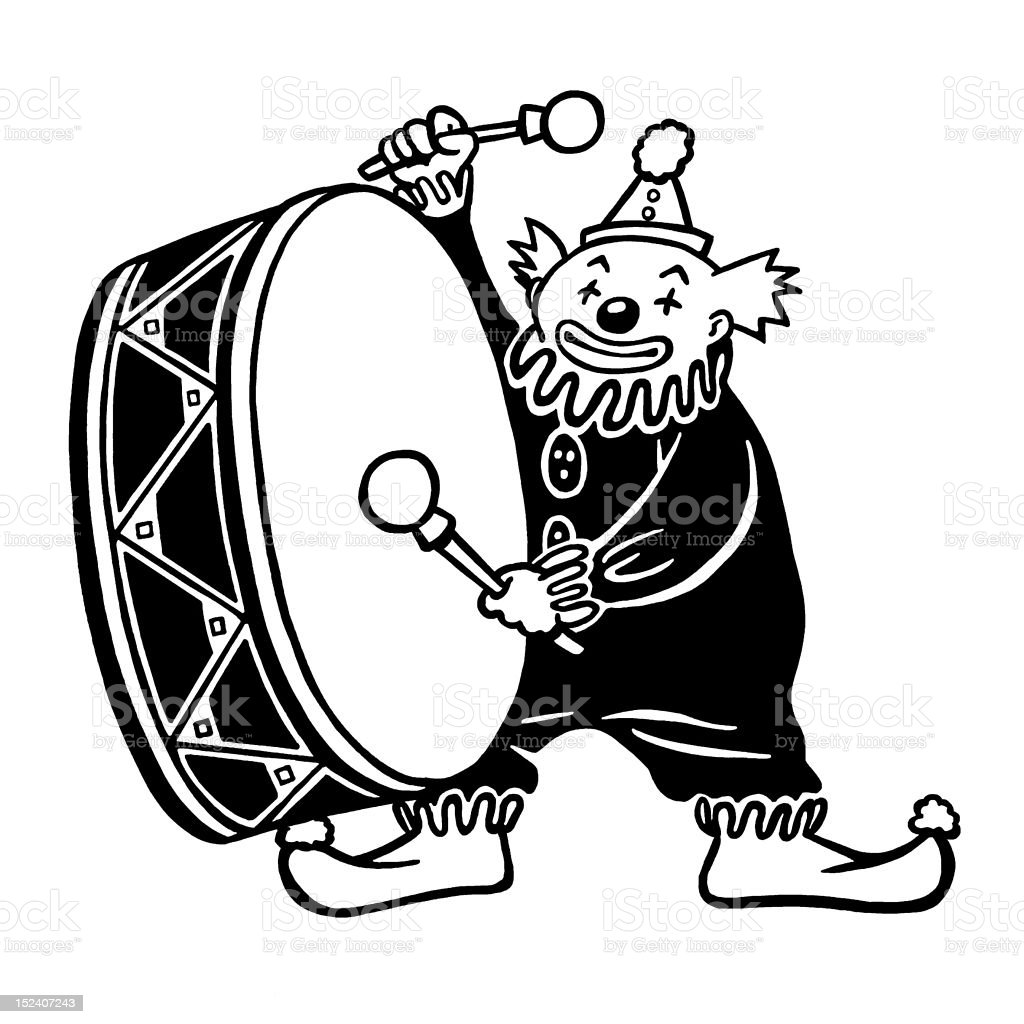 Clown Playing Bass Drum royalty-free stock vector art