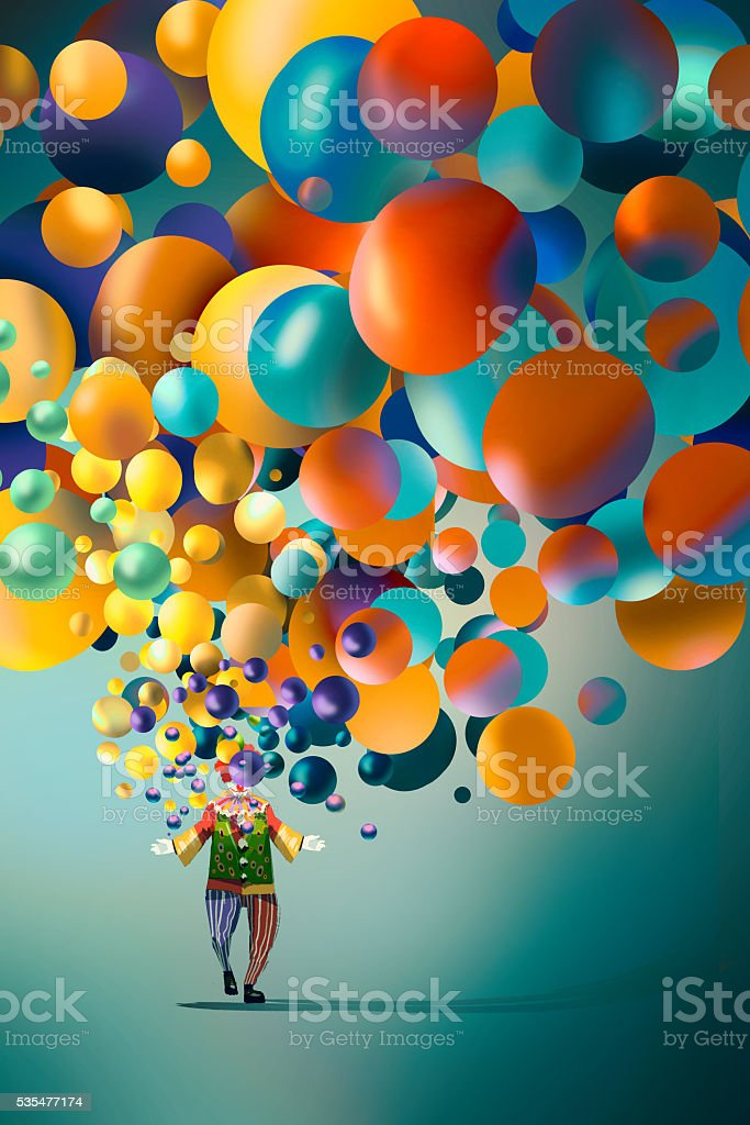 clown with colorful balloons vector art illustration
